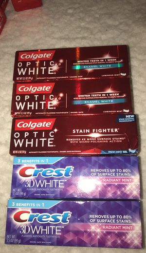 New 5 Colgate Optic White/Crest 3D white toothpaste lot for Sale in Levittown, PA