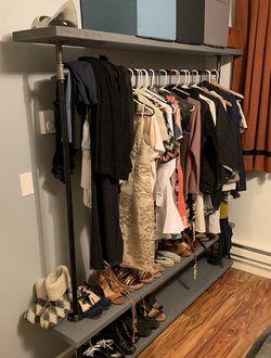 Grey Mobile Free Standing Closet Rack/shelf storage for Sale in Seattle,  WA