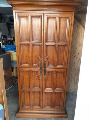 """Solid wood cabinet..Dimensions are 79""""h 34""""w 20""""d for Sale in Kent, WA"""