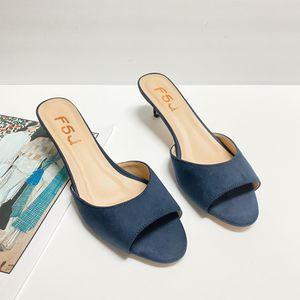 size 8.5 FSJ Women Peep Toe Kitten Heel Mules slippers Sandals for Sale in Las Vegas, NV