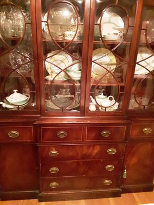 MAHOGANY BREAKFRONT CHINA CABINET WITH DESK SECRETARY LEATHER SEie.CRETARY DESK TOP DRAWER for Sale in Loveland, OH