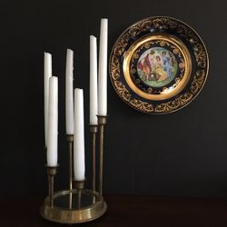Vintage Brass Candle Holder And Decor Wall Plate for Sale in Pasadena,  CA