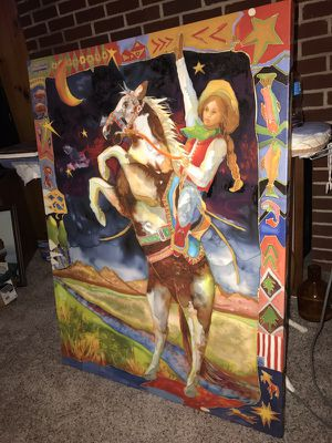 Nancy Cawdrey maizie and thunder canvas wall art & autographed book for Sale in Columbus, OH