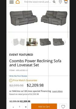 Coombs Reclining Powered Sofa And Love Seat Set for Sale in La Mesa,  CA