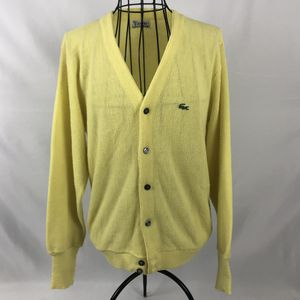 VTG Izod Lacoste Sweater Cardigan Womens Large Great Button Up V Neck Yellow for Sale in Orlando, FL