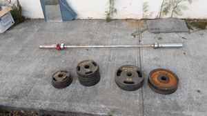 bar + 180lbs barbells for Sale in South San Francisco, CA