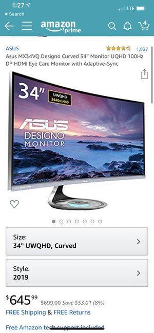 """Asus MX34VQ Designo Curved 34"""" Monitor UQHD 100Hz DP HDMI Eye Care Monitor with Adaptive-Sync for Sale in New York, NY"""