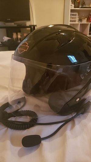 Harley Davidson biker helmet size S with intercom mic for Sale in Pasadena, TX