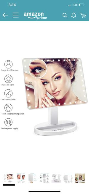 Brand new in box Large Lighted Vanity Makeup Mirror (X-Large Model), Funtouch Light Up Mirror with 35 LED Lights, Touch Screen and 10X Magnification for Sale in Fullerton, CA