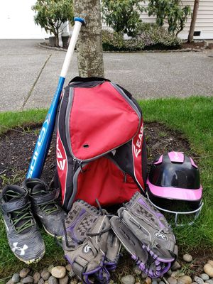 Softball Starter Kit! Includes Bat, Helmet, Glove, Cleats, Bag (Also Sold Separately) for Sale in Lynnwood, WA