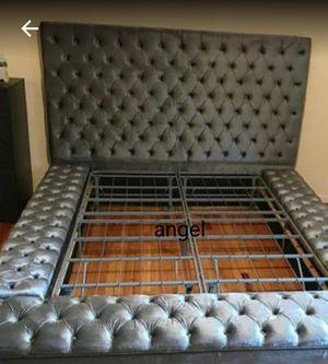🐞SAMEDAY DELIVERY 🐞Bliss Velvet Gray Queen Storage Platform Bed for Sale in Jessup, MD