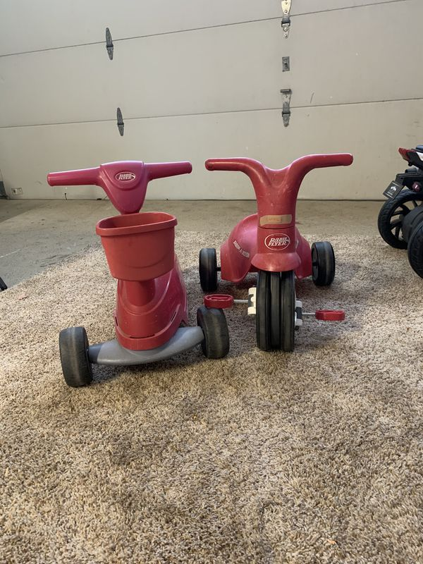 Radio flyer tricycle and 2+1 bike/scooter