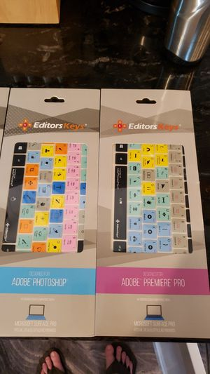 Editors Keys Keyboard Covers for Adobe Photoshop, Lightroom, Premier Pro & Audition for Surface Pro 3-7. for Sale in San Diego, CA