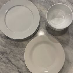 7 Plates And 4 Bowls - White, Porcelain for Sale in Reston,  VA