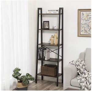Vintage Ladder Shelf, 5-Tier Bookcase, Plant Stand and Storage Rack Wood Look Accent Furniture with Metal Frame for Home Office for Sale in Temple City, CA