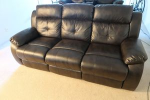 Comfortable Black Sofa with Double Recliners for Sale in San Francisco, CA