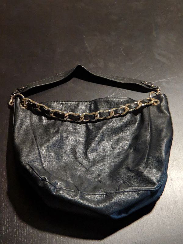 Faux Leather Hobo Bag with Chain Detail & Detachable Strap