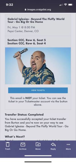 Two 6th row Gabriel Iglesias tickets for Sale in Arvada, CO