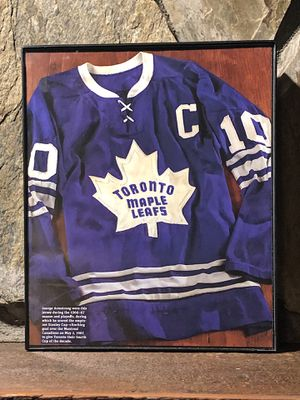 """Page from the Past : Picture of 1966-1967 Toronto Maple Leafs Jersey in """"8x10"""" glass frame. for Sale in Snellville, GA"""