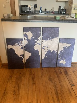 4 piece canvas map for Sale in Chicago, IL