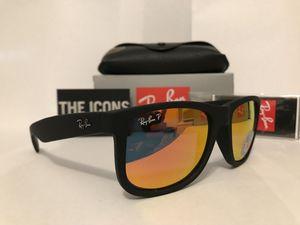Ray Ban Justin 4165 54mm Matte Black Frame Orange mirror polarized lens Unisex Sunglasses for Sale in Los Angeles, CA