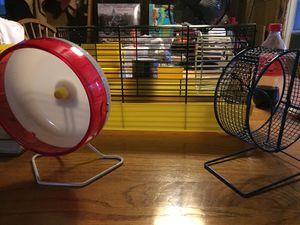 Hamster cage with wheel and house and 2 extra wheels for Sale in Shippensburg, PA