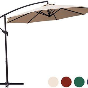 10ft Patio Offset Cantilever Umbrella Market Umbrellas Outdoor Umbrella with Crank & Cross Base for Garden, Deck,Backyard and Pool (Beige, 10 Ft) (10 for Sale in Ontario, CA