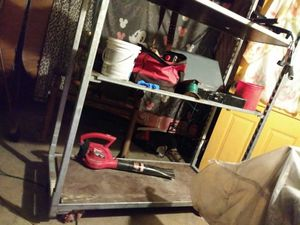 Metal work shelves with wheels real sturdy for Sale in San Antonio, TX