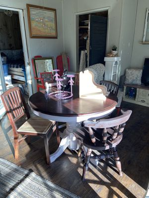 Shabby chic oak table custom chairs for Sale in Bend, OR