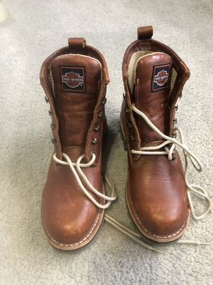 Brownish red women's size 8 1/2 Harley Davidson work boots for Sale in Imperial, MO