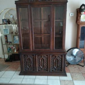 Vintage China Cabinet Made Out Of Pecan Wood Very Beautiful And Excellent Condition Must Sell for Sale in Deltona, FL