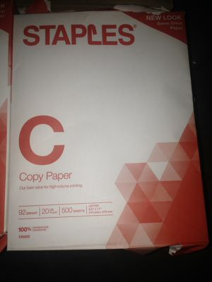 Staples copy paper 92 bright 500 sheets letter size for Sale in Lodi, CA