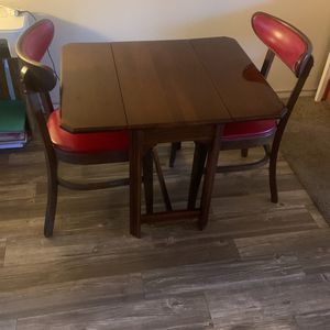 Antique Vintage Folding Table Two Red Chairs Dining Living Set for Sale in Mesa, AZ