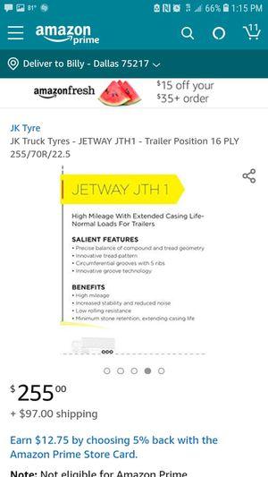 Jk Tyre Jetway 255 70 22.5 trailer tire for Sale in Dallas, TX
