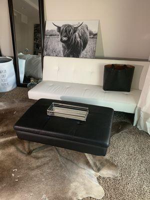 Black leather ottoman for Sale in Tacoma, WA