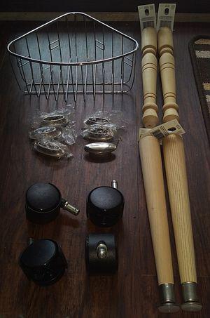 Household stuff....wheels, knobs, legs, basket for Sale in Marietta, GA