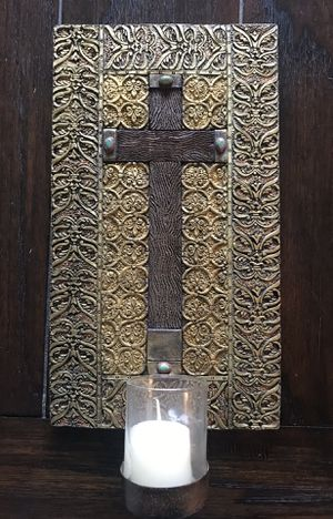 Beautifully Crafted Cross Wall Art with votive holder. Never been used. for Sale in Dallas, TX
