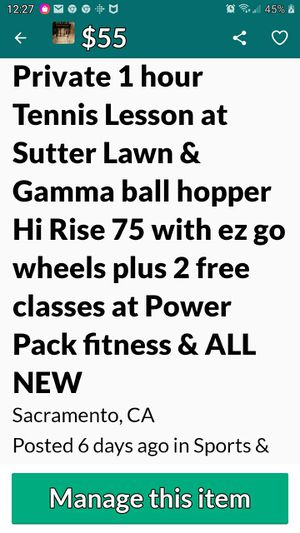 Tennis lesson,ball hopper, 2 cans tennis balls & 2 exercise classes FREE ROLL OF TOILET PAPER WITH PURCHASE for Sale in Rio Linda, CA