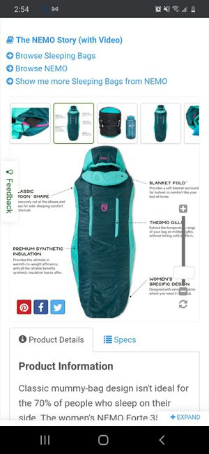 Nemo equipment, FORTE 35°F women's long sleeping bag for Sale in Everett, WA