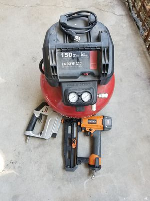 Air compressor straight nailer and crown stapler combo for Sale in Chino Hills, CA