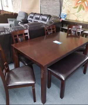 [[ SPECIAL]] bennox brown dining room set. Table chairs bench (( brand new. Delivery available))) for Sale in Katy, TX