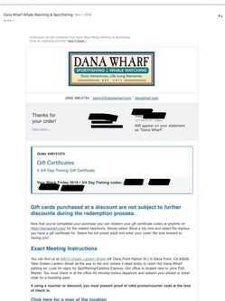Dana Wharf Sportfishing Gift Certificates 3/4 Day 4 Tickets no expiration Dana Point, CA for Sale in Rancho Cucamonga,  CA