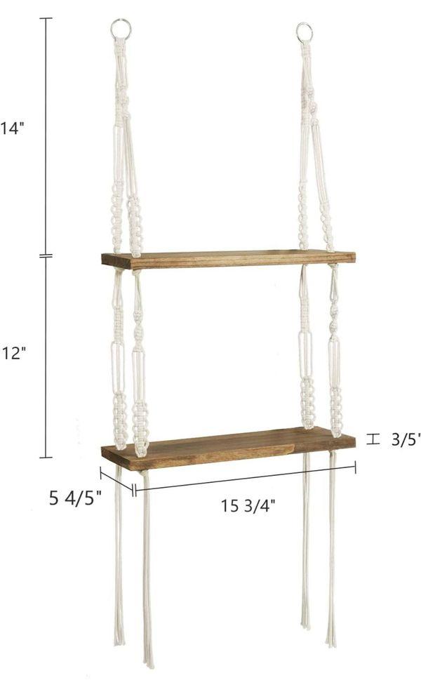 2 Tier Wood Wall Shelves with Handmade Woven Hanger