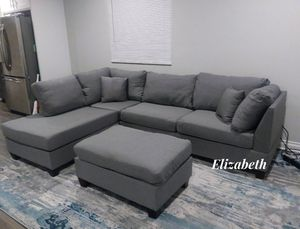 New in box grey sectional sofa w/ ottoman reversible chaise for Sale in Bellflower, CA