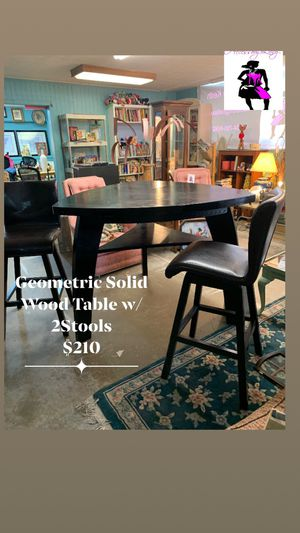 Geometric Solid Wood Table w/2 Stools for Sale in Douglasville, GA