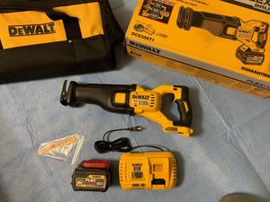 DEWALT FLEXVOLT 60-Volt MAX Lithium-Ion Cordless Brushless Reciprocating Saw with (1) Flexvolt Battery 6.0Ah, Fast Charger and Contractor Bag for Sale in Phoenix, AZ