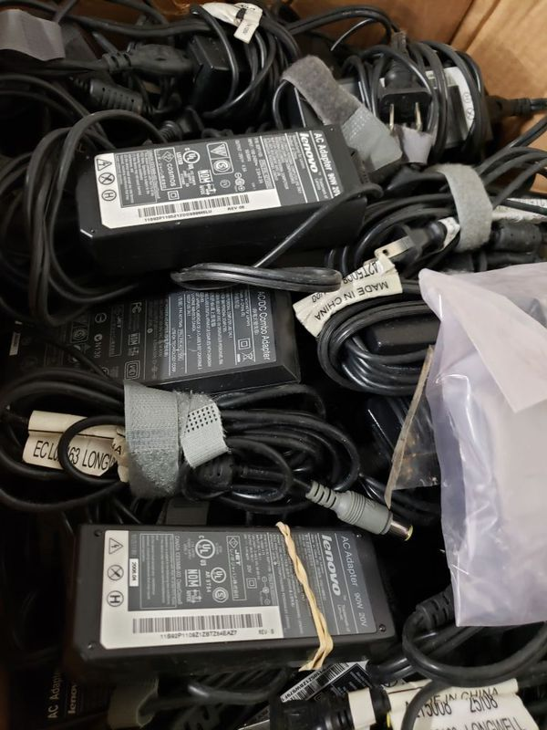 Bulk lot of 1500 OEM Used Laptop Chargers, DELL, LENOVO, HP