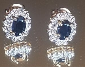 NEW! Sterling Silver gold filigree genuine dark blue topaz pierced earrings for Sale in Lake Stevens, WA