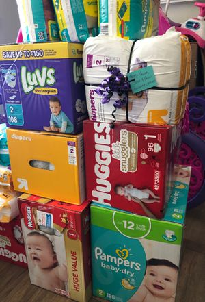 Brand New Pampers Diapers (sizes Newborn, 1, 2) for Sale in Chino, CA