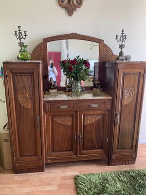 Antique Carved Deco Cabinet w/ Gorgeous Marble and Mirror for Sale in Los Angeles, CA